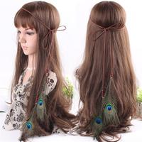 Fashion Bohemia Hair Accessories Wood Beads Peacock Feather Suede Braided Headband/Hair Wrap/Hair Band