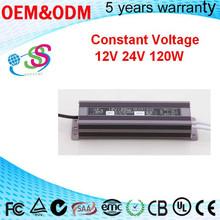 Power supply 120W 5A 24V 12V Aluminium case waterproof IP67 constant voltage 120W 24V 12V 36V led driver power supply