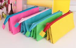 Wholesale mutifunctional canvas pencil bag 3 layers 2 zipper pencil case