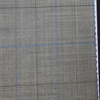 High Quality Worsted Coffee Background Color Blue line Plaid 100% Wool Fabric