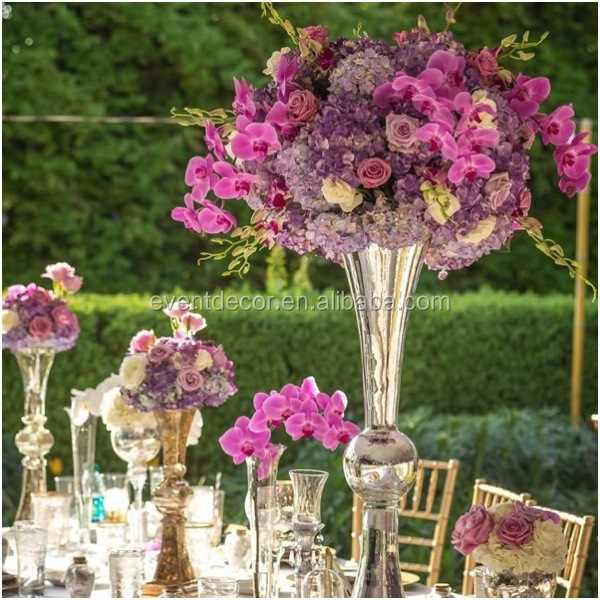 Silver vase and flower centerpiece glass trumpet for