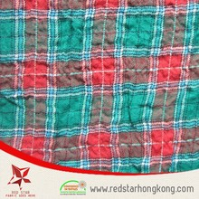 Mint Green and red woven Cotton yarn dyed cotton crepe fabric dress material