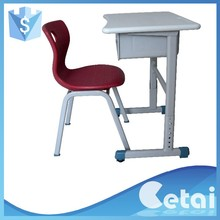 Single student desk play school furniture desk kids desk and chair set