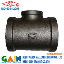 black tee malleable iron pipe fittings
