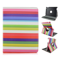 Rainbow Rotate Flip PU Tablet Leather Case For Apple iPad 2 3 4, ipad air, ipad mini