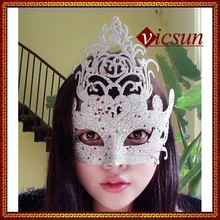 PAR-0129 Yiwu Caddy 2015 Hot sale Halloween custom gold dust half face princess party mask