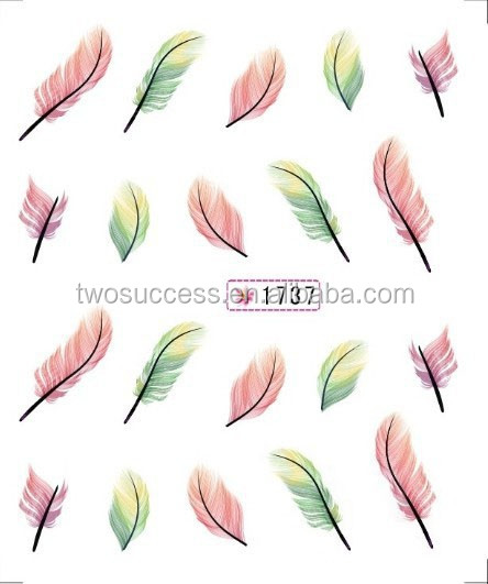 Nail Sticker Feather Watermark UV Gel Nail Polish Sticker Korea Designed Nail Art Decal Sticker (4)