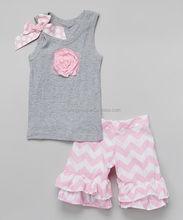summer kids clothing,grey sleeveless top pink rosette,pink and white chevron ruffle shorts 2pcs set for baby girls