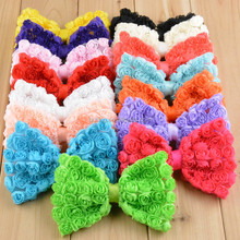 Stock Chiffon Rosette Fabric Hair Bows Without Clips,Rose Flower Hairbow Accessories For Baby Girls/Kids Hair