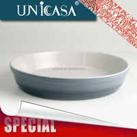 UNICASA STOCK Promotional Cheap Round Ceramic Pizza/Butter/baking Dish