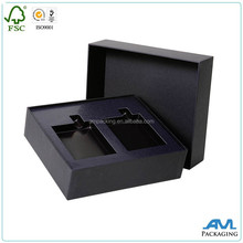 custom with insert all black paper set up wine bottle packaging box