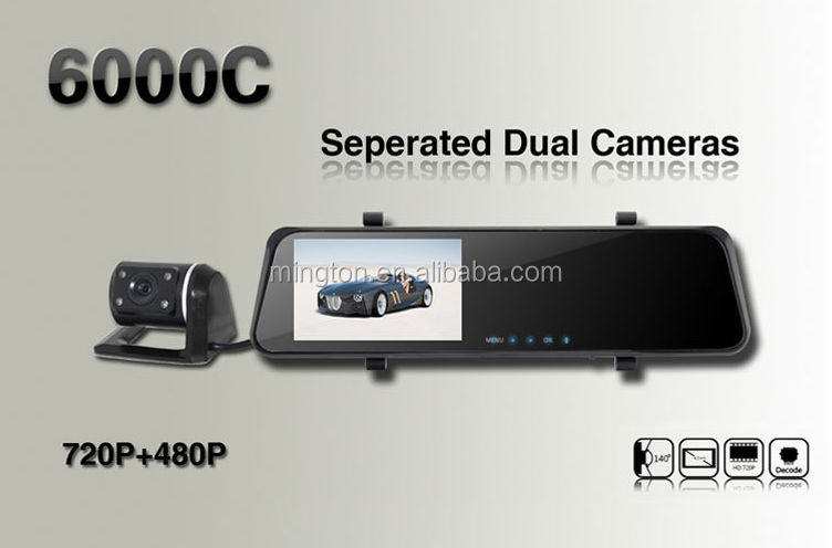 720P 6000C HD rearview car camera With Dual Lens