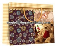 2014 Luxury kraft paper bag for packing/top quality shopping bag/with ribbon handle