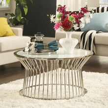 INSPIRE Q Cyril Frosted Glass Top Drum Metal Cocktail Table