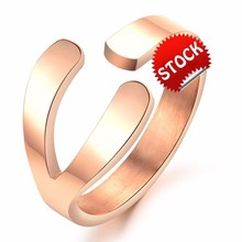Unique New Design Adjustable Stainless Steel Wishbone Ring Rose Gold Plated Elegant Women Jewelry