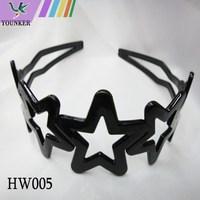 black plastic hollow five star decor wide hair style hair hoop hair band with teeth