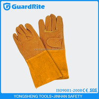 """GuardRite brand 14""""/16"""" united mens yellow leather gloves motorcycle manufacture"""
