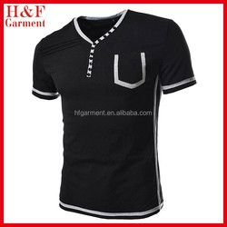 Slim Fit 2 Tone Button Point V-neck Short Sleeve Tshirts