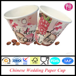 6oz Single Wall PE Coated Chinese Wedding Paper Cup