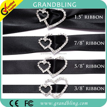 Factory customized double hearts Shape Rhinestone Ribbon Buckle