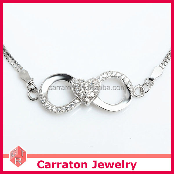 Wholesale Rhodium Plated Aaa Cubic Zirconia 925 Silver Heart