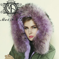 2015 high quality reccoon dog furs winter parka for girls DM001-08
