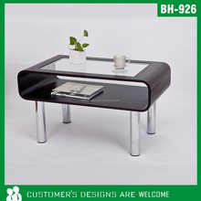Wooden Base High Gloss Glass coffee table design