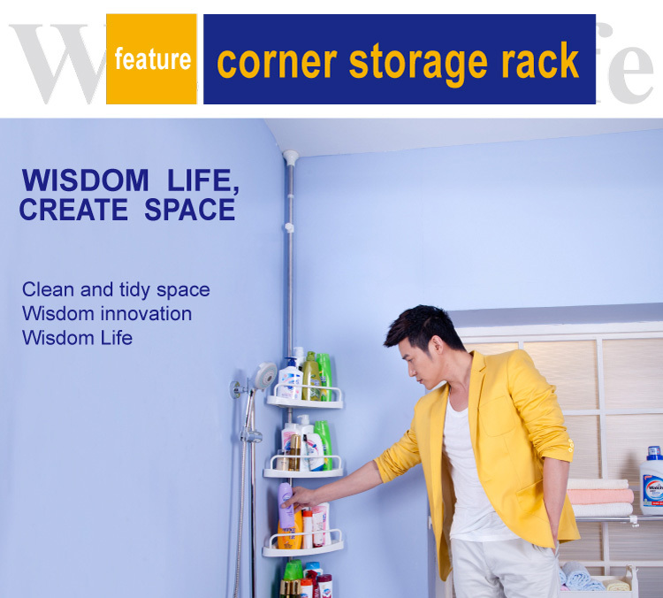 BYN 4 tier telescopic stainless steel corner shampoo bathroom rack
