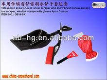 Protable telescopic plastic snow shovel with snow brush ice scraper glove/car kit