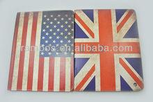Fashion Retro US UK Flag Stand Hard PU Leather Case Cover for iPad 2 3 4