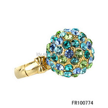 Cocktail Bridal Rhinestone Ring with a Huge Colorful Rhinestone Ball