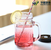 450ml drinking colored glass mason jar with handle 12 oz wholesale