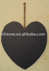 natural slate memo board in heart shape