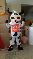 Factory Direct white milk cow mascot costume for adults with High quality
