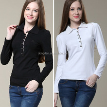 High quality cheap soft long sleeve polo shirt or dri fit long sleeve shirts wholesale and thin fabric long sleeve woman blouse