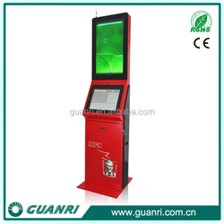 19/32 inch LCD screen ticket vending and advertising kiosk oem China dual screen kiosk -Guanri k08