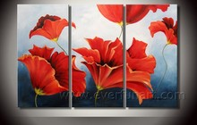 Framed handmade paintings with red poppies