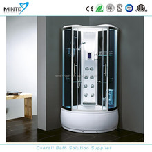 luxury ABS bathroom round steam shower room with shower seat and touch screen FM radio