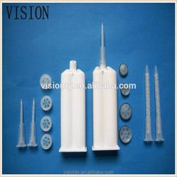 dual epoxy cartridge with static mixer/nozzle/mixing tube
