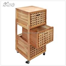 Custom original gridwork 3-drawer wooden filing cabinet with wheels