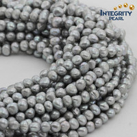 8mm AA grade unique dyed color silver grey baroque nugget real freshwater pearl beads in bulk