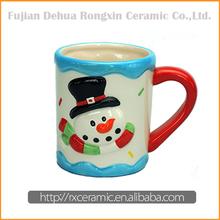 Christmas snowman design hand-painted large white coffee ceramic mugs