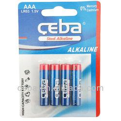 CEBA steel Alkaline high capacity 1.5V AA LR6 AM3 Dry battery with shrink/blister packaging