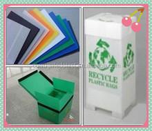 Durable folding corrugated plastic trash bin