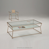 Rose gold modern glass coffee table for living room