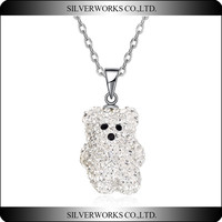 New Design 925 Silver Polar Bear Pendants With full CZ stone fit for Necklace Jewelry