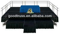 Portable concert stage with curtain