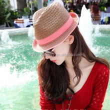 WOVEN TWEED PAPER STRAW FEDORA TRILBY HAT