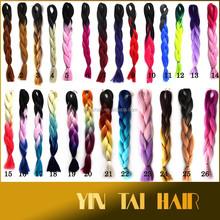 Large Stock, 26 Colors Kanekalon Synthetic Hair Braiding/ombre color jumbo braid synthetic hair