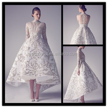 (MY0902)High Neck Long Sleeves Pleated Bodice Embroidery Tea Length Wedding Dress